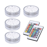 4pcs 10 Led RGB Light Submersible Waterproof Party Festival Home Decors + 2 Remote