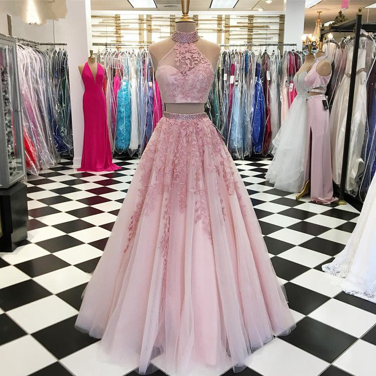 Pink 2019 Prom Dresses A-line Halter Tulle Lace Beaded Two Pieces Party Maxys Long Prom Gown Evening Dresses Robe De Soiree