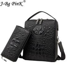 2018 New Men's Bag Crocodile Pattern 100% Genuine Leather Briefcases Men Shoulder Bag Messenger Bag Business Handbag 2 pieces se недорого