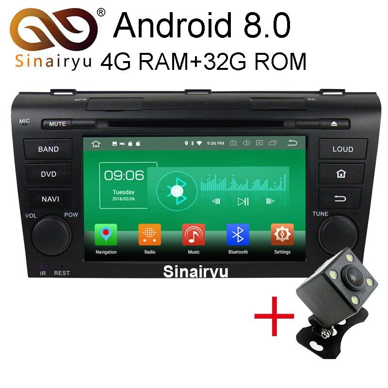 Sinairyu 4 г Оперативная память Android 8.0 автомобильный DVD для Mazda 3 2004 2005 2006 2007 2008 2009 Octa core 32 г Встроенная память Радио GPS плеер головное устройство
