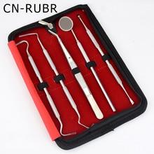 CN-RUBR 5Pcs Dentist Teeth Clean Tool Top Quality Dentist Teeth Clean Hygiene Safety Probe Hook Pick Kits With Mirror
