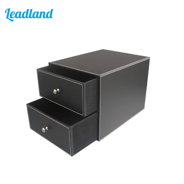 2-Drawer 2-Layer PU Leather Filing Cabinet Desk File/Document Holder Organizer Storage Box
