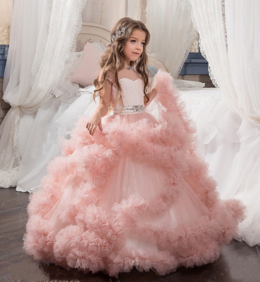 Pink Tulle Beaded Pleat Cheap Princess   Flower     Girl     Dresses   Cap Sleeve Ball Gown First Communion   Dress   Vestidos de comunion 2019