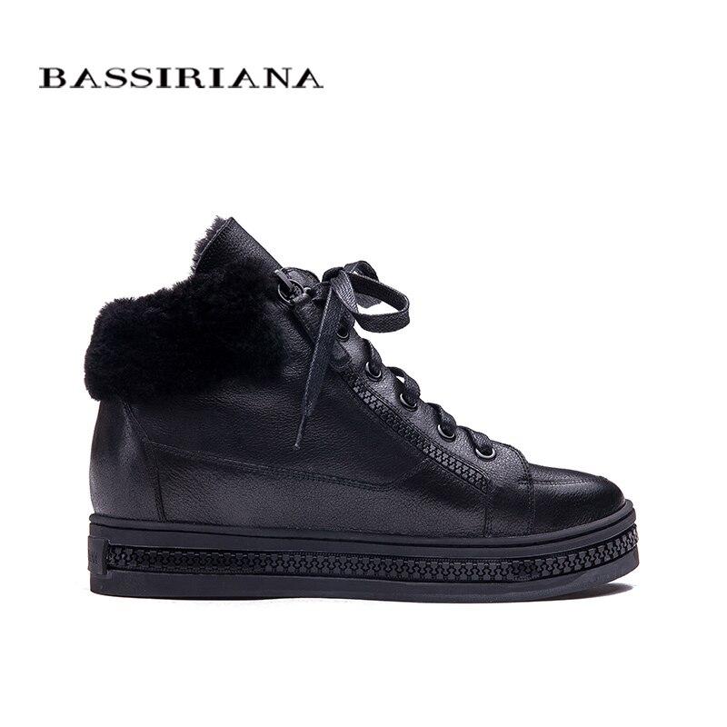 BASSIRIANA النساء أوكسفورد جديد الشتاء الجلود الدانتيل متابعة الارتفاع زيادة نعل جولة اصبع القدم عارضة السيدات أحذية منصة امرأة الأسود-في أحذية الكاحل من أحذية على  مجموعة 2