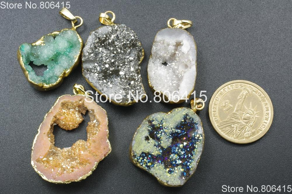 1PCS Gold Plated Heptagon Green Natural Agate Druzy Geode Pendant Bead Polygon Natural Drusy Quartz Pendant Gemstone Geode Jewelry NR033