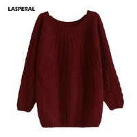 LASPERAL Pull Femme 2017 Autumn Winter Women Sweaters And Pullovers Plaid Thick Knitting Mohair Sweater Female