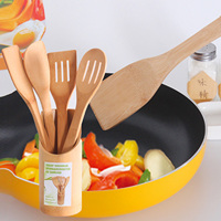 5PCS Bamboo Kitchenware Cooking Utensil Set 4 Spoons And Spatulas 1 Storage Box Holder Eco Friendly