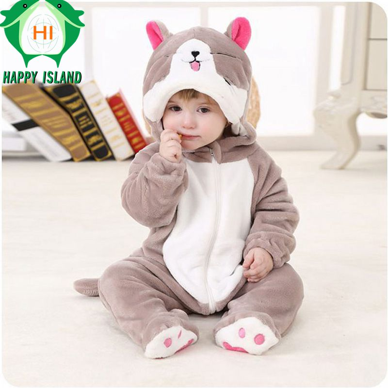 High Quality Baby Clothing 100% Flannel Long Sleeve Baby Jumpsuit Rompers Soft Infant Hooded Jumpsuit Sets Cartoon Animal Onesie