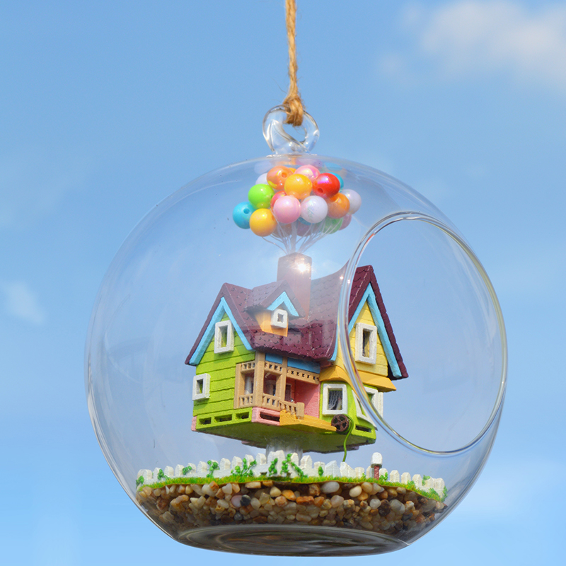 DIY Model Doll House Miniature Dollhouse With Furniture Glass Ball House For Dolls Casa Birthday Gift Toys For Children B006 #E