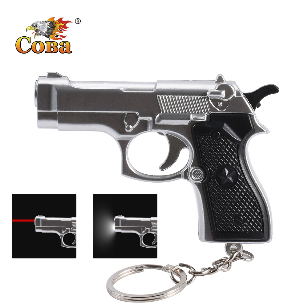 Coba Mini Gun Gift Keychain Flashlight 2 Modes Led Light And Infrared Light Use 3*button Battery Interesting Decorations Light