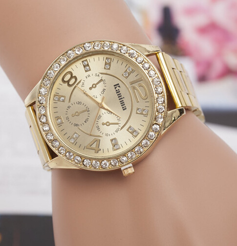Las Fashion Rose Gold Silver Watch With Rhinestone Women Watches Stainless Steel Dial Casual Quartz