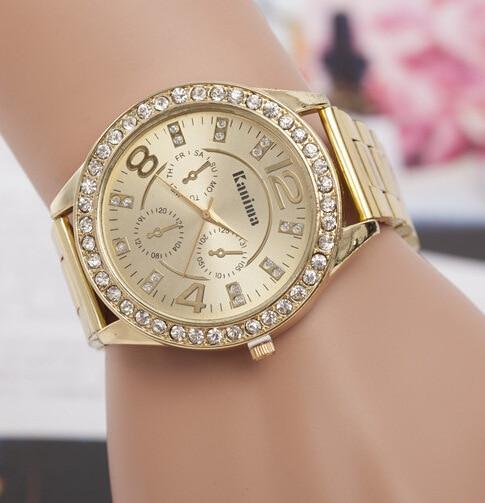 10136389784d Moda para mujer subió reloj de plata dorado con el Rhinestone mujer relojes  de acero inoxidable