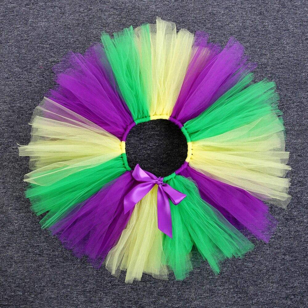 Rainbow Skirt Knee Length Nylon Mesh Tulle Skirt Kids Back to School Costume Happy Easter Party Tutu Skirt with Ribbon Bowknot (14)