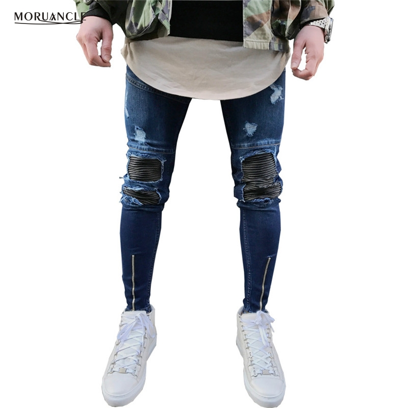 MORUANCLE Hi Street Men s Ripped Biker Jeans Leather Patchwork Streetwear Moto Denim Joggers Distressed Trousers