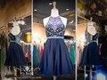 Imagens reais bonito A linha de Chiffon curto vestidos de alta decote frisada azul Prom vestidos Cocktail 2016