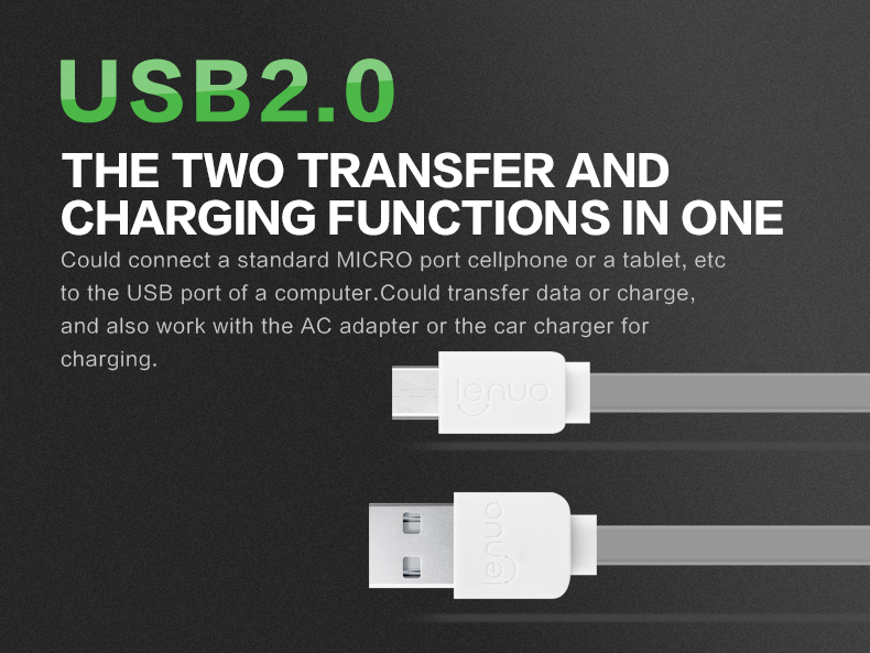 Original Lenuo 2.4A Fast Charging Micro USB Cable for Sony Xperia Z3 Compact XA Z5 For LG G5 G4 G3 K10 and Other phone Usb Cable