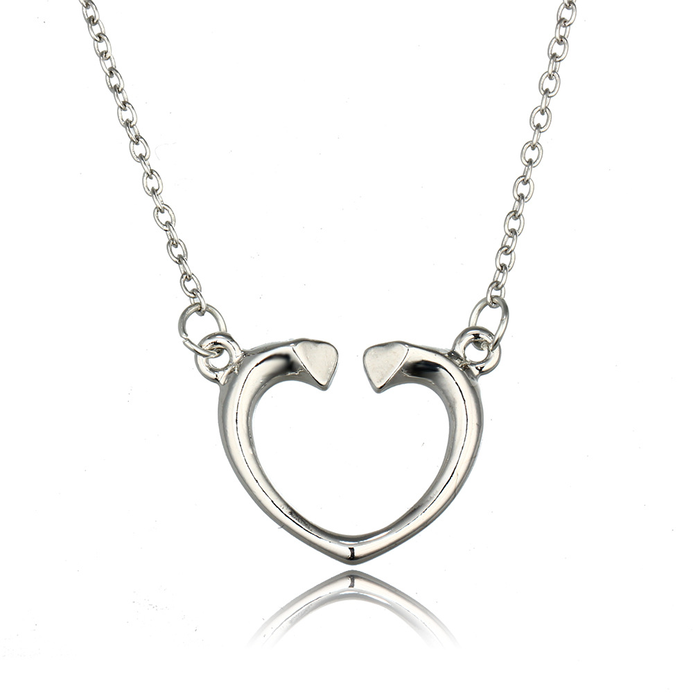 2016 Women Simple Open Heart Pendants Necklaces Silver Heart Clavicle Chain Jewelry Gift For Lover