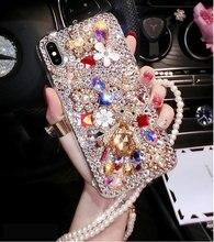 For Samsung Galaxy M10 M20 M30 A10 A20e A30 A50 A70 A80 A90 On5 On7 2016 C5 C7 C9 C10 Pro Bear Rhinestone Case Diamond Cover crocodile genuine flip leather case for samsung galaxy c5 c7 c9 pro c10 on5 on7 on8 2016 2017 j5 j7 prime cell phone cover
