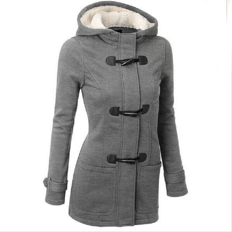 ФОТО  2017  Fashion Soft Women Hooded Coat Winter Lady Horn Button Jacket With Pockets