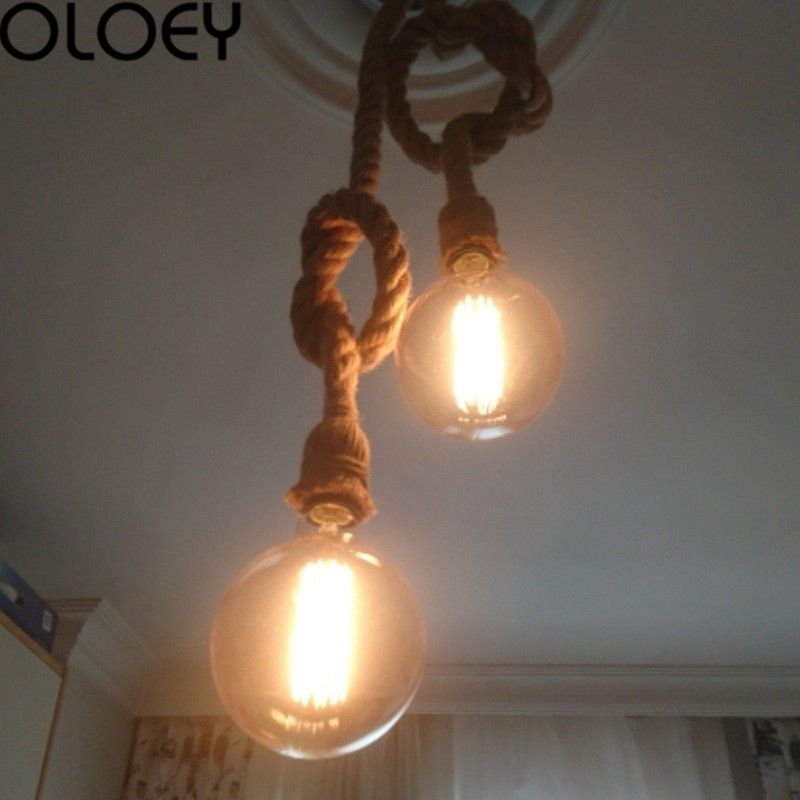 1/2m Single Head Rope Chandelier Rope Lamp Retro Rustic Style Restaurant Bar Decoration Rope Lamp
