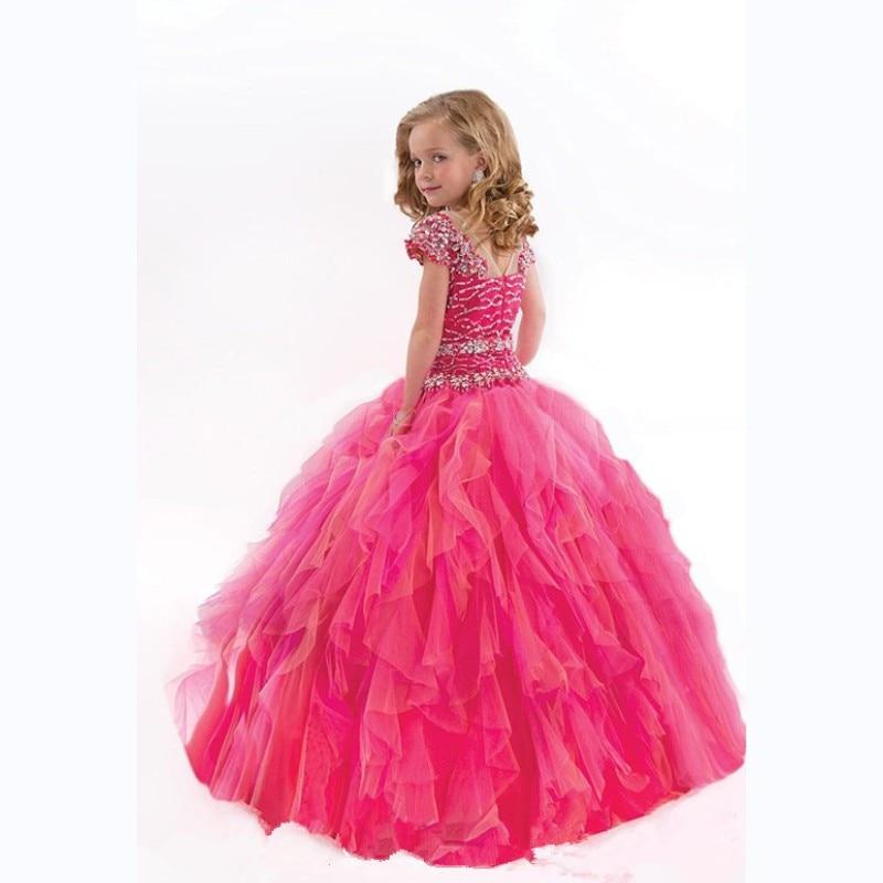 Beauty Pageant Vestidos para niñas con cuentas con gradas De las ...