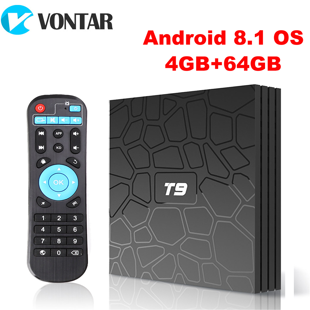 2018 VONTAR T9 ТВ Box Android 8,1 4 ГБ 32 ГБ 64 ГБ Smart ТВ префикс Rockchip RK3328 1080 P H.265 4 К Google Play медиаплеера