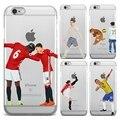 Ultra thin football for iphone 4 4s 5 5s se 6 6 s 7 7 plus cubierta del teléfono casos de coque estrella de fútbol messi ronaldo ganador Rooney