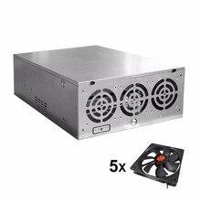 Crypto Coin Open Air Mining Frame Rig Graphics Case ATX Fit 6/8 GPU Mining Case Ethereum ETH ETC ZEC XMR Magnalium Alloy 5 Fans