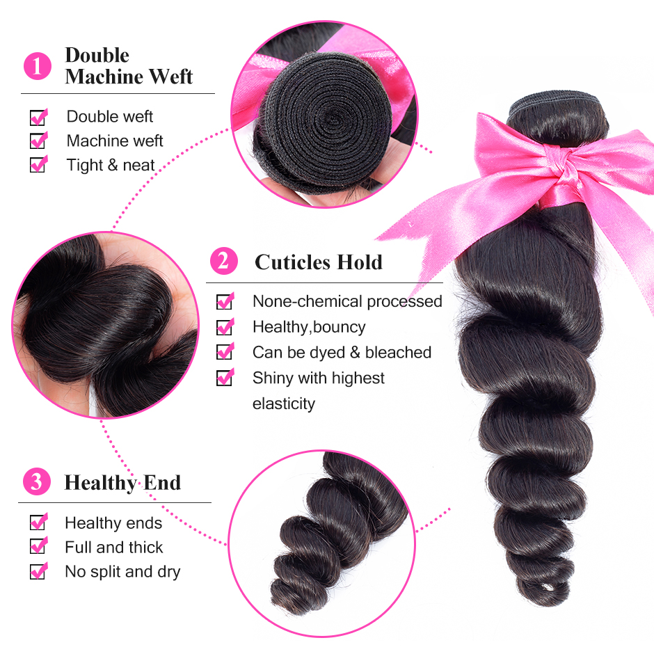 Image 2 - ISEE HAIR Brazilian Loose Wave Bundles With Closure 100% Remy Human Hair Bundles With Closure 3/4 Bundles Hair With Closure-in 3/4 Bundles with Closure from Hair Extensions & Wigs