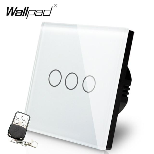 EU UK 110V 250V Wallpad White Crystal GlassTouch 3 Gang RF433 Wireless Remote Control Sensor 2 Way 3 Way Stair Light Switch