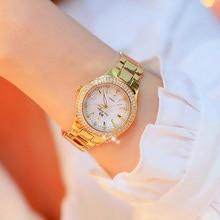 2019 Fashion Rose Gold Quartz Horloges Vrouwelijke Roestvrij Staal Horloges Luxe Merk lady Crystal Horloge Vrouwen Jurk Horloge