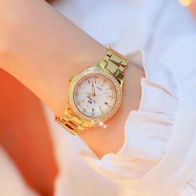 Relojes de cuarzo de oro rosa de moda 2019, relojes de pulsera femeninos de acero inoxidable, relojes de pulsera de cristal de marca lujosa para mujer, reloj de vestir para mujer