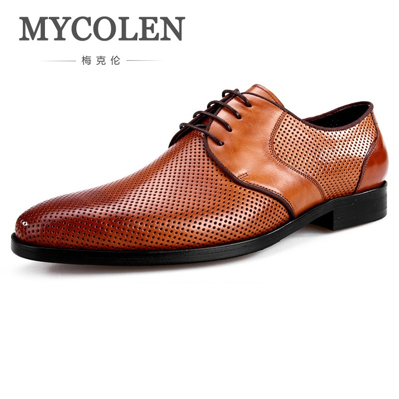 MYCOLEN New Fashion Mens Formal Dress Shoes Breathable Leather Pointed Toe Derby Shoes Lace Up Designer Luxury Men Shoes недорго, оригинальная цена