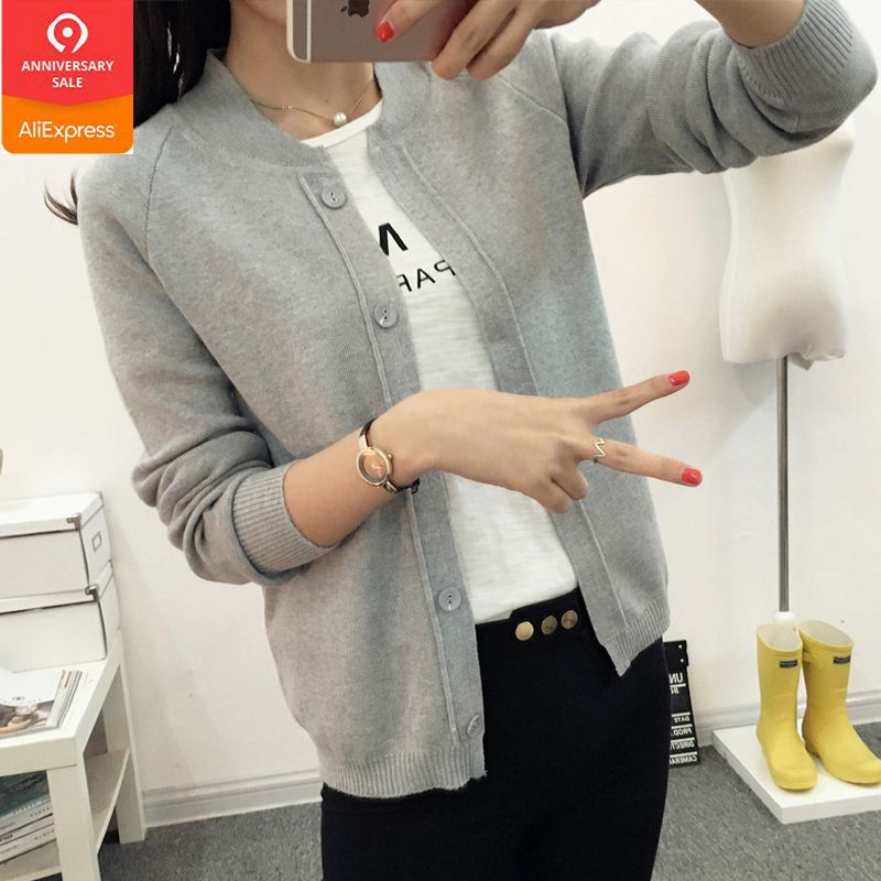 OHCLOTHING New spring summe 2019 female knit cardigan sweater coat short female a little shawl knitted jacket female 12 color-in Cardigans from Women's Clothing
