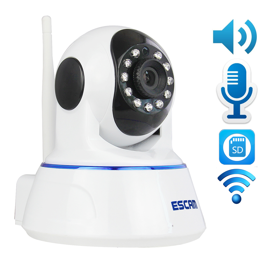Escam QF002 720P HD WIFI IP Camera Wireless MegaPixel P2P IR PT Network Night Vision Microphone Pan Tilt with Micro SD Card Slot escam qf100 p2p ip camera 720p hd wifi wireless baby monitor pan tilt security camera onvif night vision support micro sd card