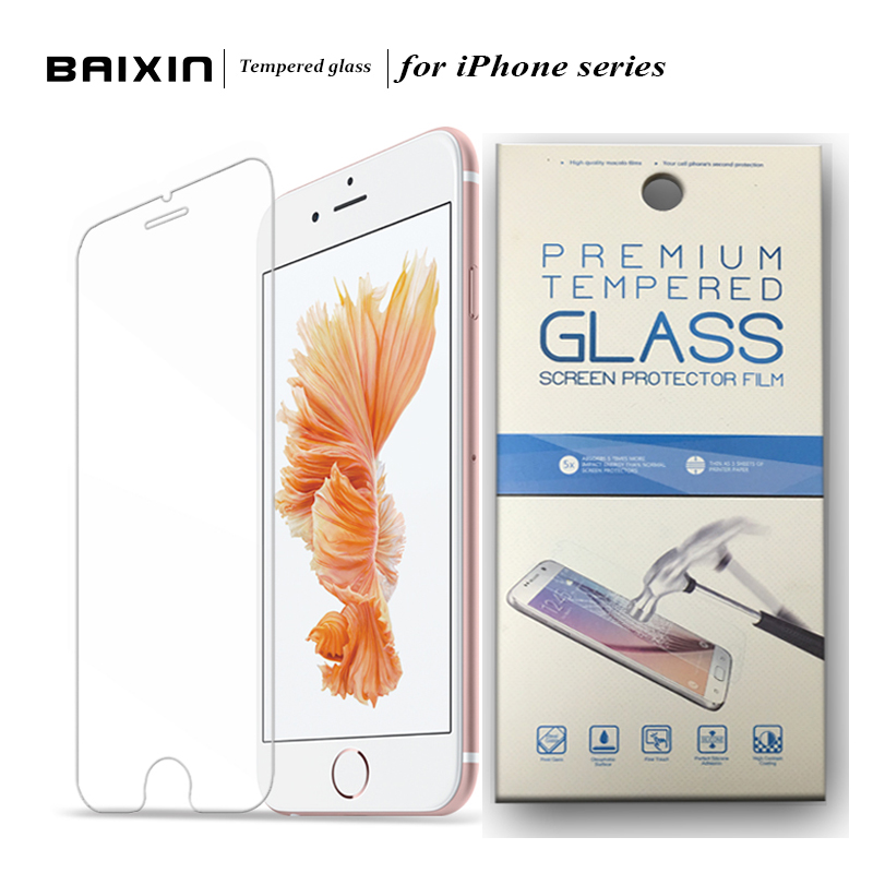 HD clear Tempered Glass Screen Protector Film For Alppe iPhone 4 4S 5 5S 6 6S Plus 7 7plus protective film case+Retail packing
