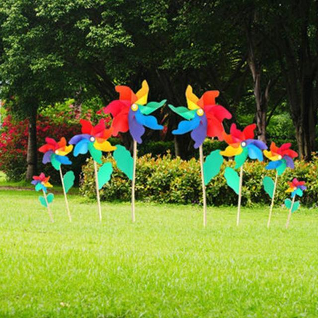 Hot Sales Colorful PVC DIY Wooden Windmill Home Garden Party Wedding  Decoration Kids Toys Gifts