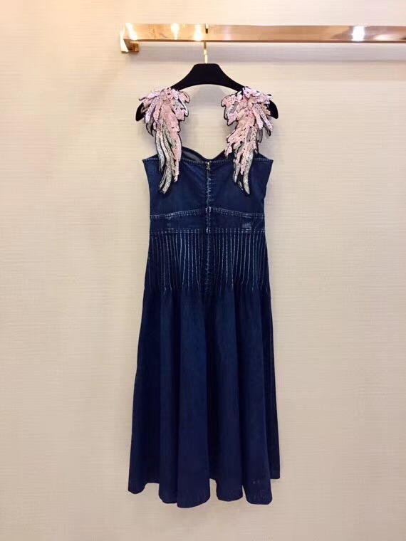 2018 spaghetti strap square collar denim wing dress
