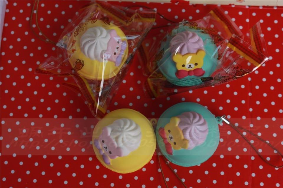 5 cm original kawaii squishy Rilakkuma Macaron kage queeze legetøj - Mobiltelefon tilbehør og reparation dele - Foto 5