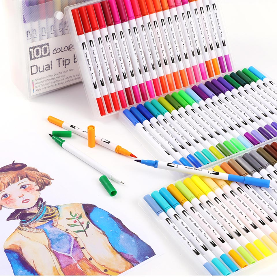 MIRUI 100 Colors FineLiner Drawing Painting Watercolor Art Marker Pens Dual Tip Brush Pen School Supplies