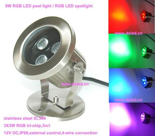 Free shipping !!Hot sale,DMX compitable,IP68 9W RGB LED pool light,RGB underwater LED light,12V DC,DS-10-43-9W-RGB,3X3W RGB 3in1