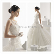 RCW8 Ball Gown O Neck Bow Belt Sequins Puffy Lace Wedding Dress 2017 Long Beaded Bridal Gown Custom Made Women