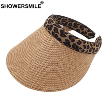 SHOWERSMILE Women Visor Sun Hat Outdoors Leopard Female Summer Khaki High Quality Cap Protection Paper Ladies Straw