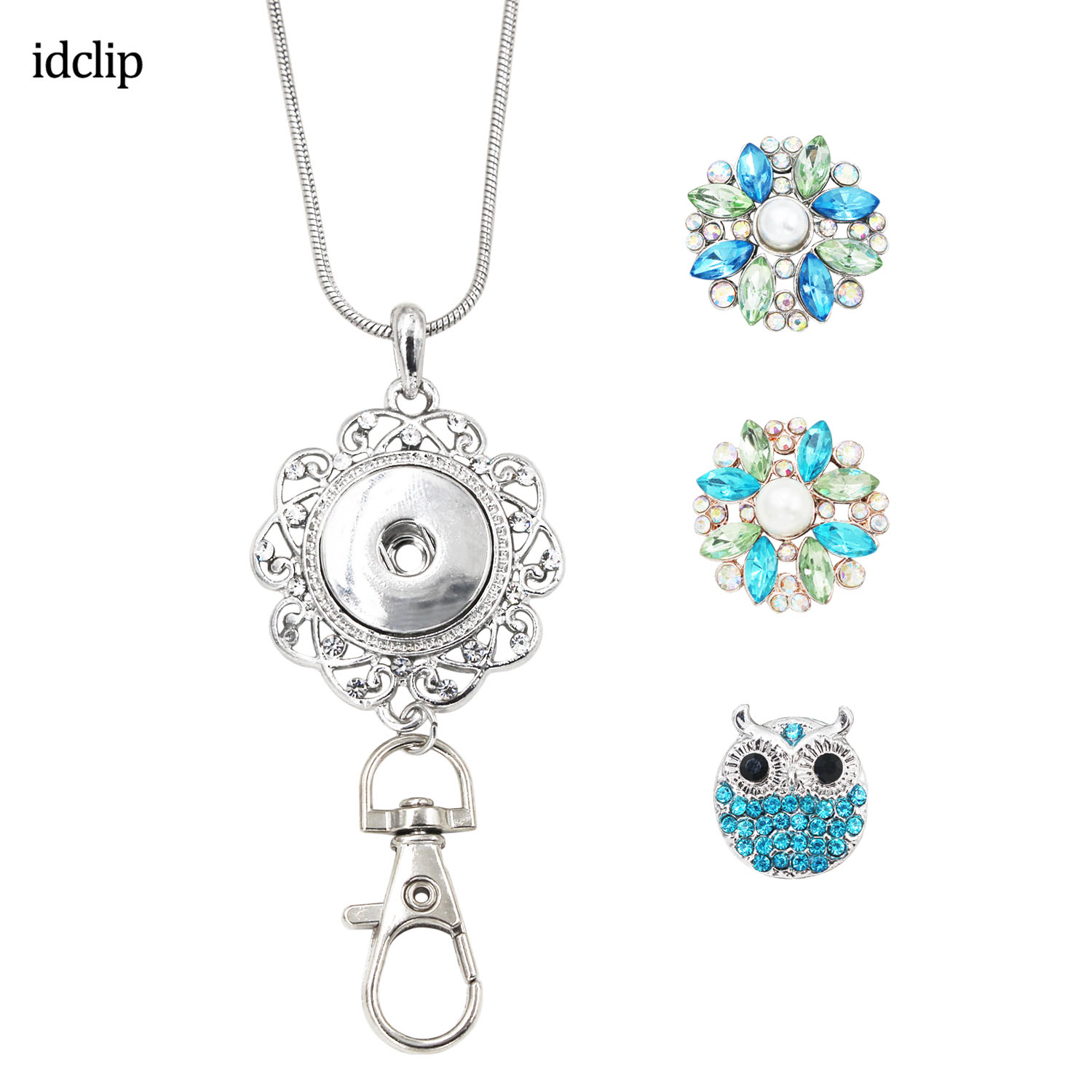 Idclip Womens Office Lanyard ID Badges Holder Necklace With 3pcs Snap Jewelry Charms Pendant Clip