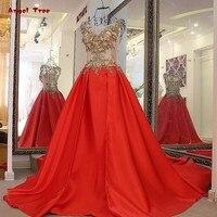 Abiti para festa di fidanzamento abito corsetto torna raso sexy vede attraverso il nuovo lunga rosso abito da sera appliqued pizzo oro