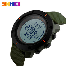 SKMEI Compass Sports Watches Men Big Dial World Time Digital Watch Waterproof PU Strap LED Wristwatches Relogio Masculino 1216 compass sports watches men world time summer time watch countdown chrono waterproof digital wristwatches relogio masculino