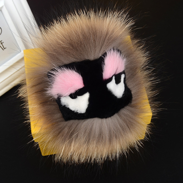 Fashion Bag Charm Real Raccoon Fur Pom Poms Bag Bug Monster Bag Bugs Charm Fox Fur Key Holder Keychain Leather Pendant F106