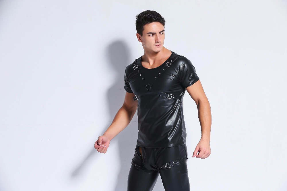 Buy Sexy Costumes Men Pu Leather Latex Catsuit Plus Size Lingerie Pole Dance Night Party Clubwear Sexy Lingerie Hot Tops Tanks