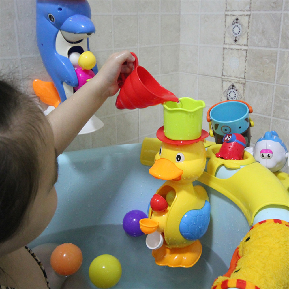 Baby Bath Toys Baby Bathroom Shower Bath Toys Bathtub Play Water Puzzle Game Duck Dolphin Model Kids Toys image