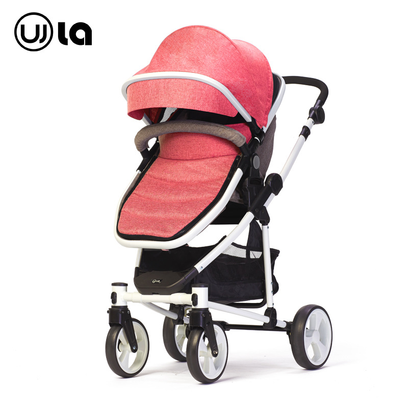 Four Wheels High Landscape Baby Stroller Car Seat Newborn Baby Carriage Can Sit Lie Flat Baby Stroller 2 In 1 Convertible Seat